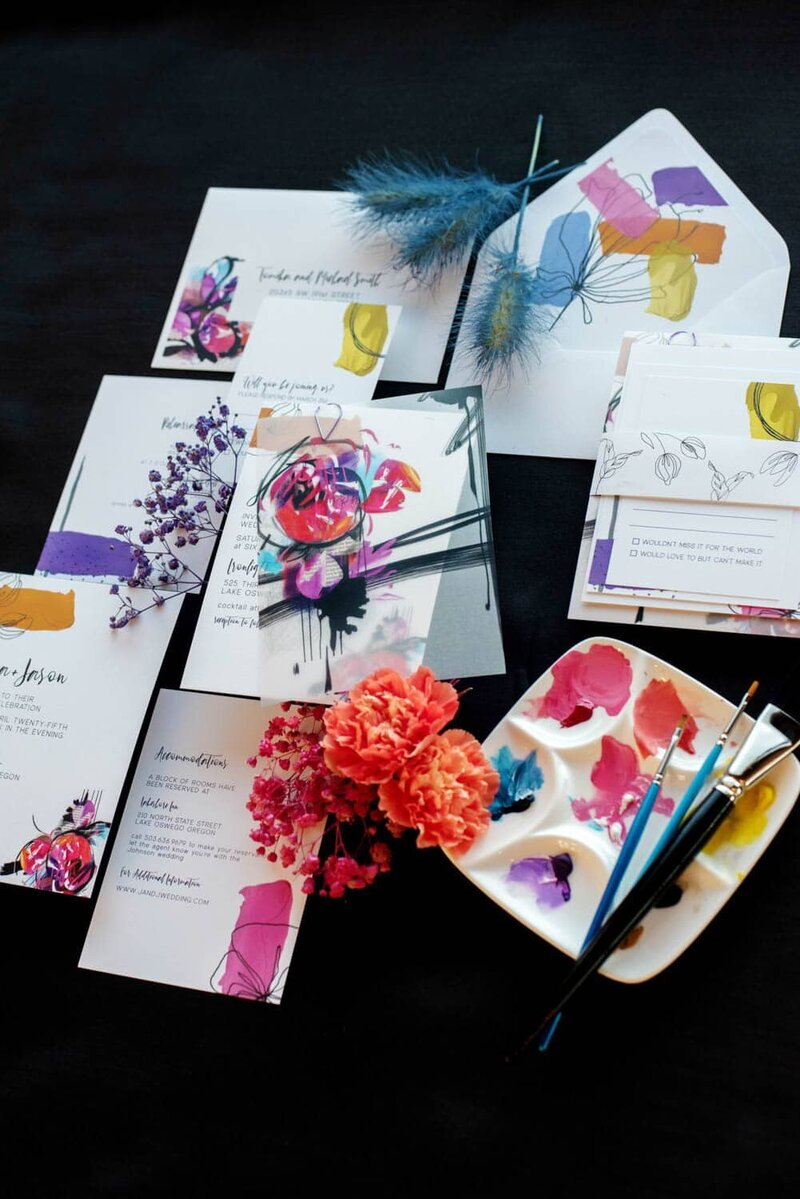 A really fun and colorful wedding invitation suite by Black Thistle Co.