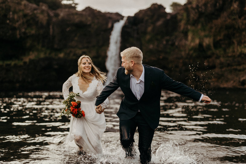 Waterfall Hawaii Elopement