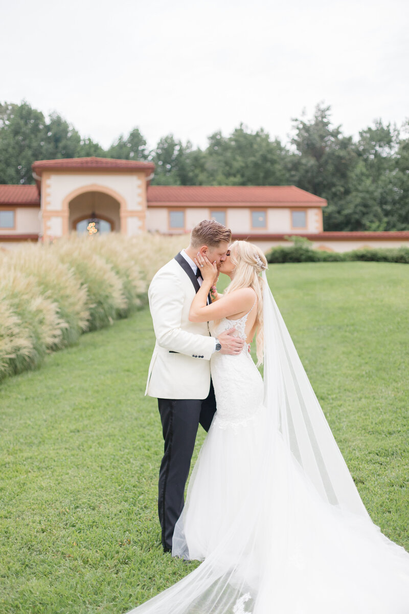 bride and groom kissing at. Running Hare Vineyard Wedding photographer costola photography