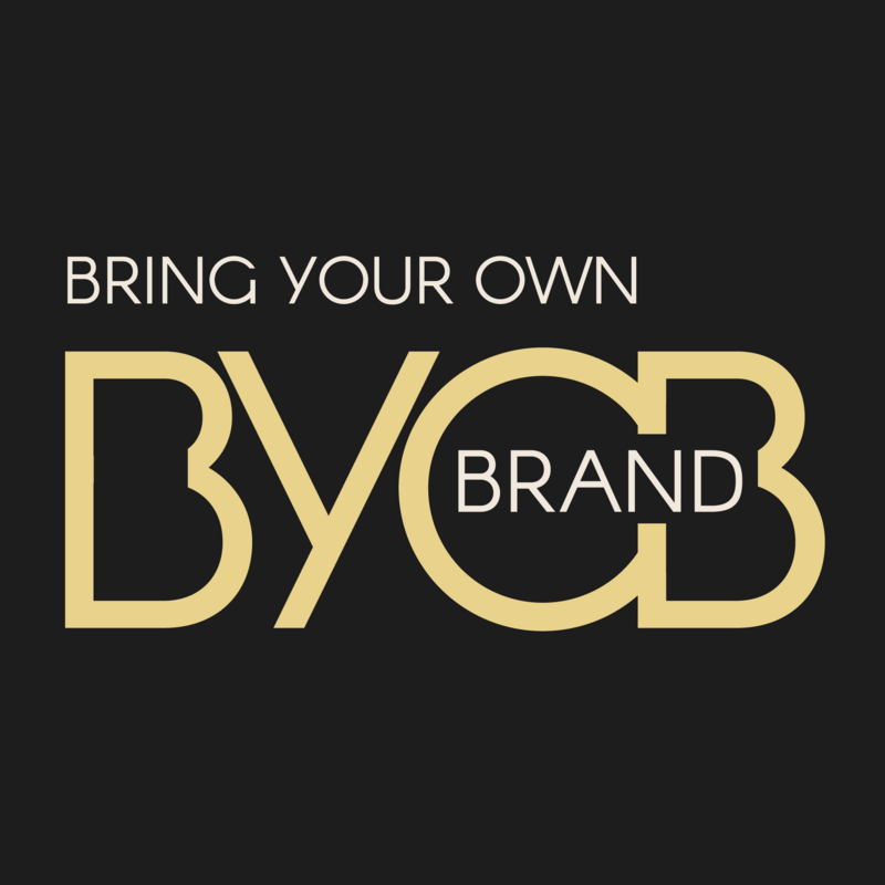 Branding Podcast - BYOBrand Podcast Logo - Black Background   - Says Bring Your Own Brand - BYOBrand