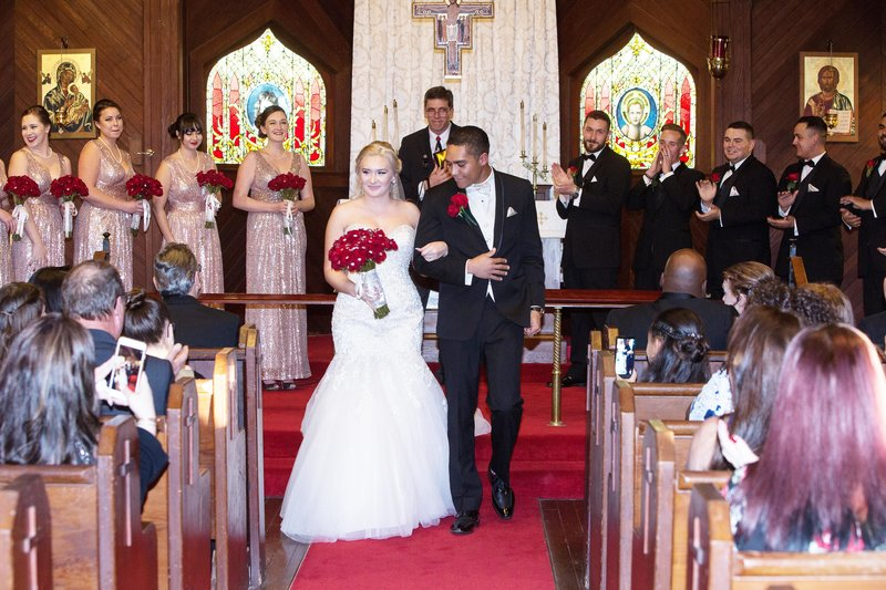 Just married, episcopal church, ceremony photography
