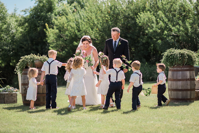 Outdoor ceremony - Red Deer Photographers- flower girls and ring bearers-Raelene Schulmeister Photography