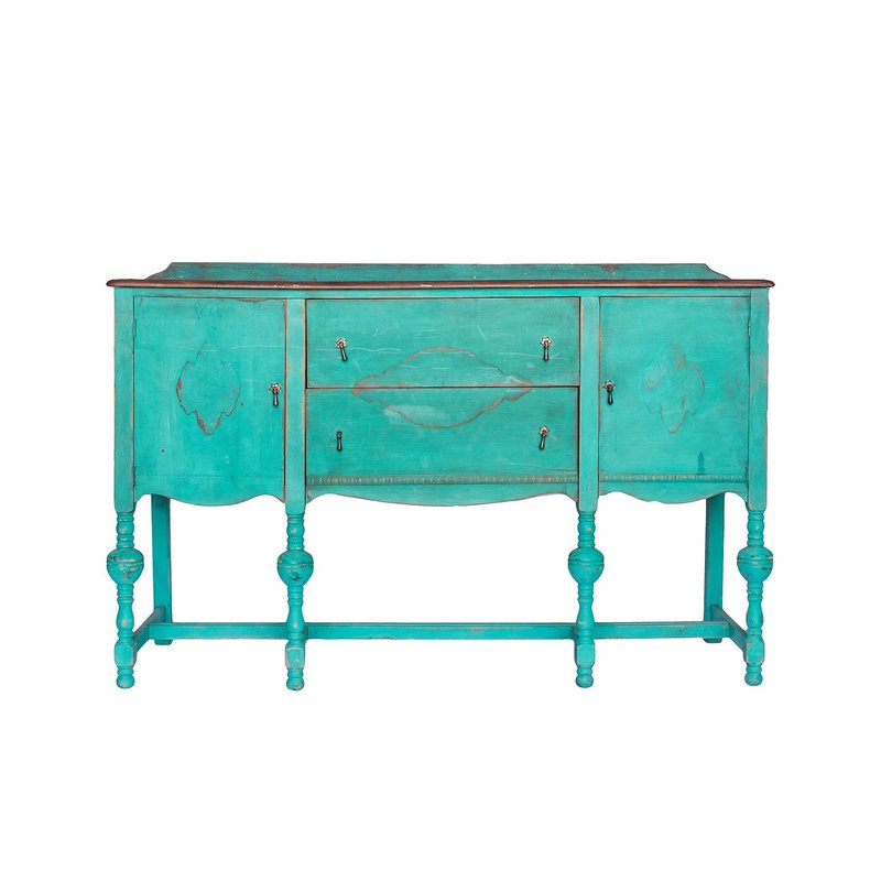 Gorgeous turquoise buffet with dark stained top.