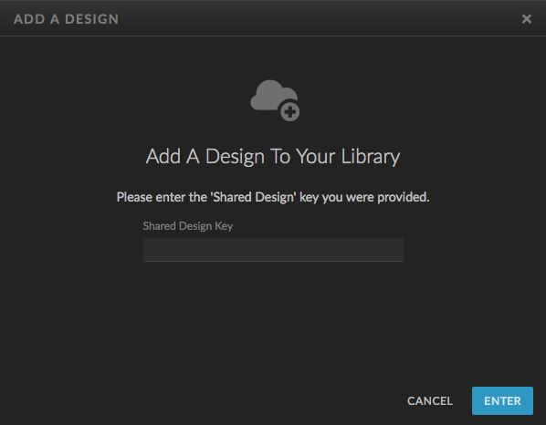 A screenshot of where to enter a Showit design key in the Showit App