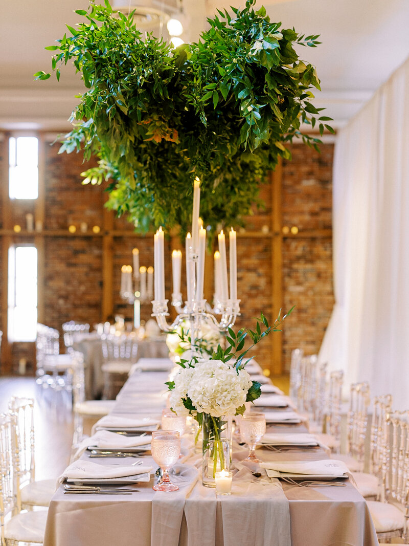Hnaging greenery installation at modern baltimore wedding