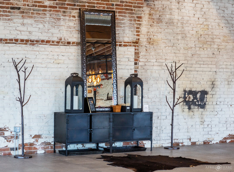 Exposed brick walls at industrial wedding venue space at Shyft at Mile High