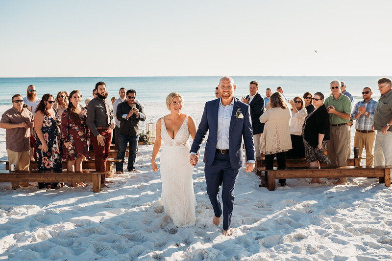 Beach wedding with bride and groom