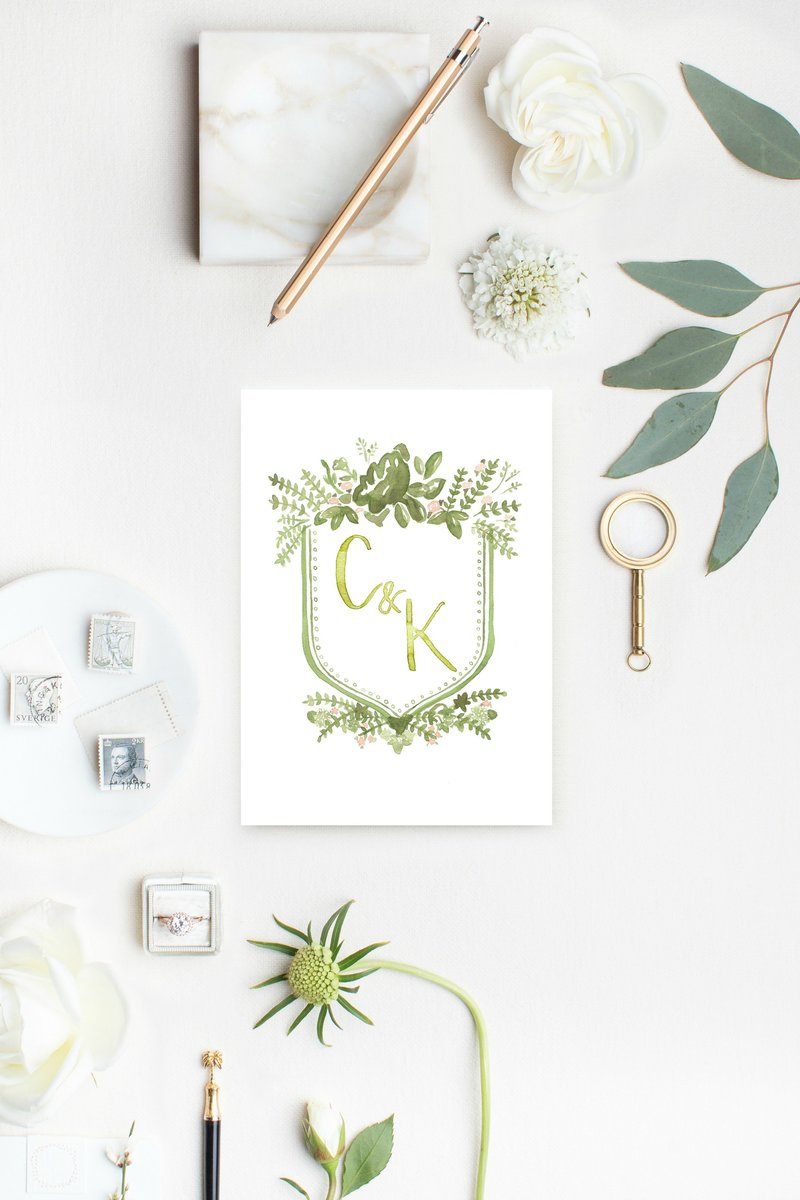 watercolor-wedding-crest-flatlay