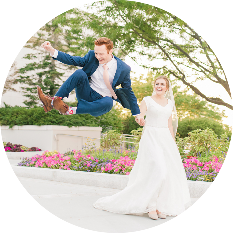 bride and groom doing heel click at the bountiful temple