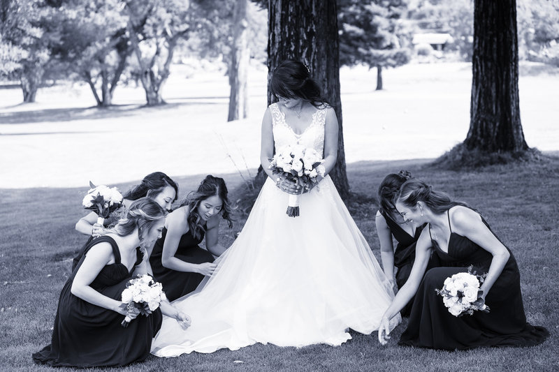 black and white bridesmaids, bridemaids