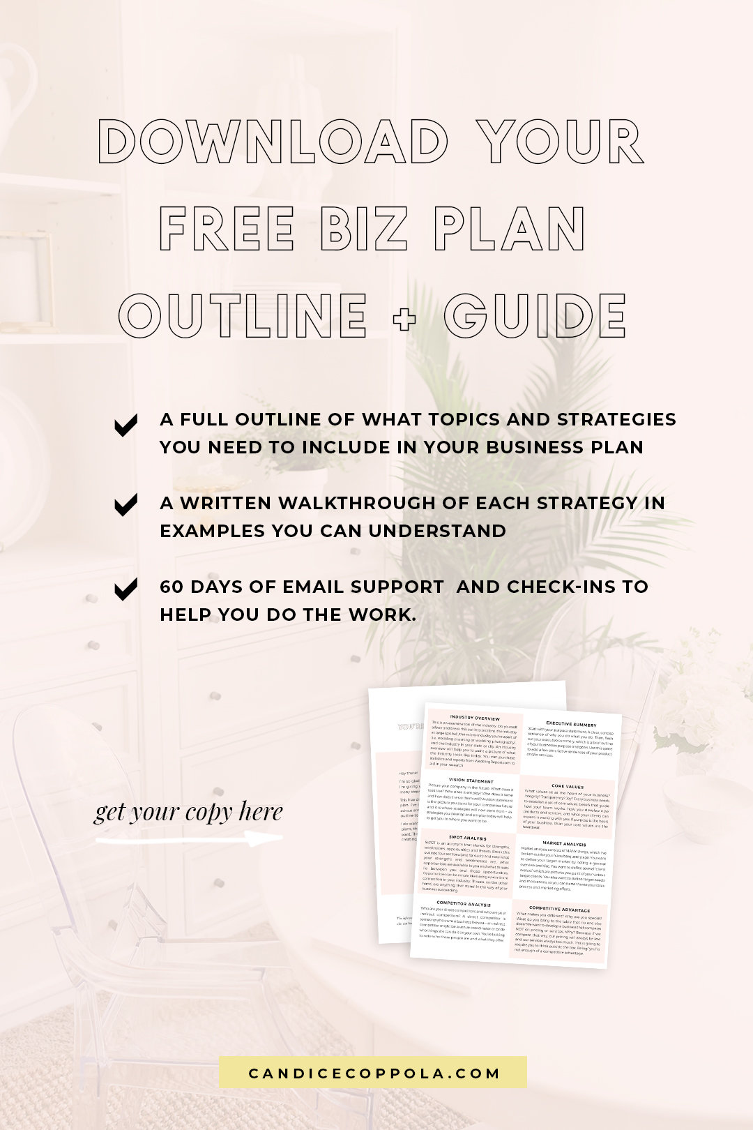 Are you a business owner in the wedding industry? This free business plan template will help kick-start strategies in your business. This template has been specially created for wedding pros like you! So if you're a wedding planner, wedding photographer, wedding cake designer, wedding invitation designer, wedding caterer, or any style of wedding business owner, be sure to download this free business plan template to start creating solid strategies that work in your business. #candicecoppola #businessplan #bizplan #weddingpros