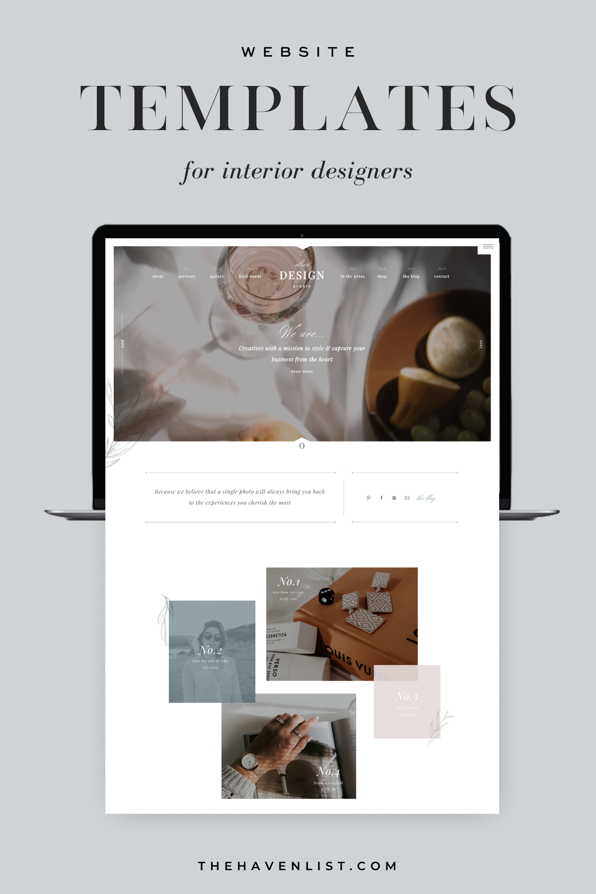 Easy-To-Edit Showit Website Templates and Customizable Website Templates for Interior Designers and Creatives - Stylish Social Media Templates, Website Content Planner & Guide, Showit Website Template, Saffron Avenue, The Haven List, Olive