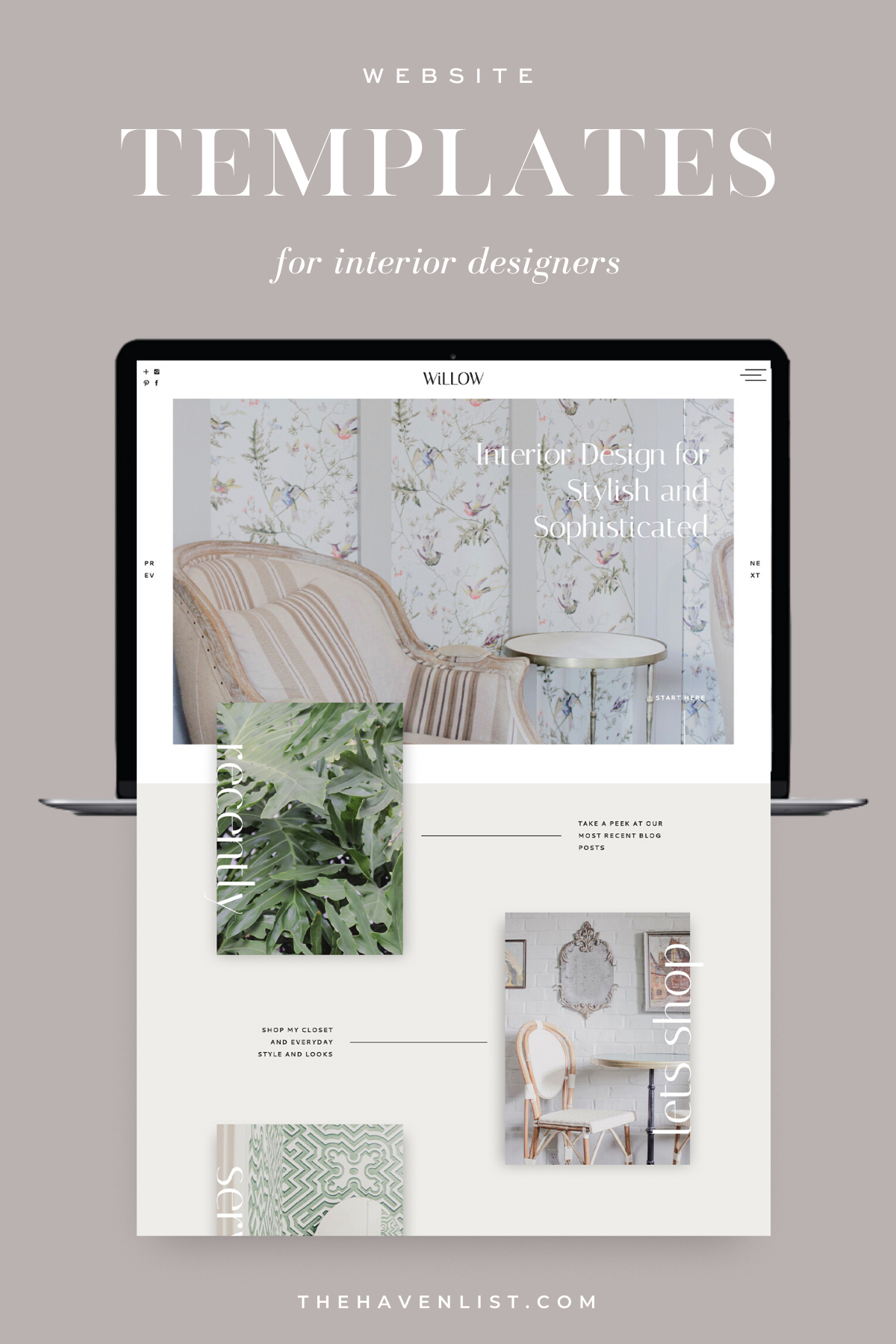Easy-To-Edit Showit Website Templates and Customizable Website Templates for Interior Designers and Creatives - Stylish Social Media Templates, Website Content Planner & Guide, Showit Website Template, Saffron Avenue, The Haven List, Willow