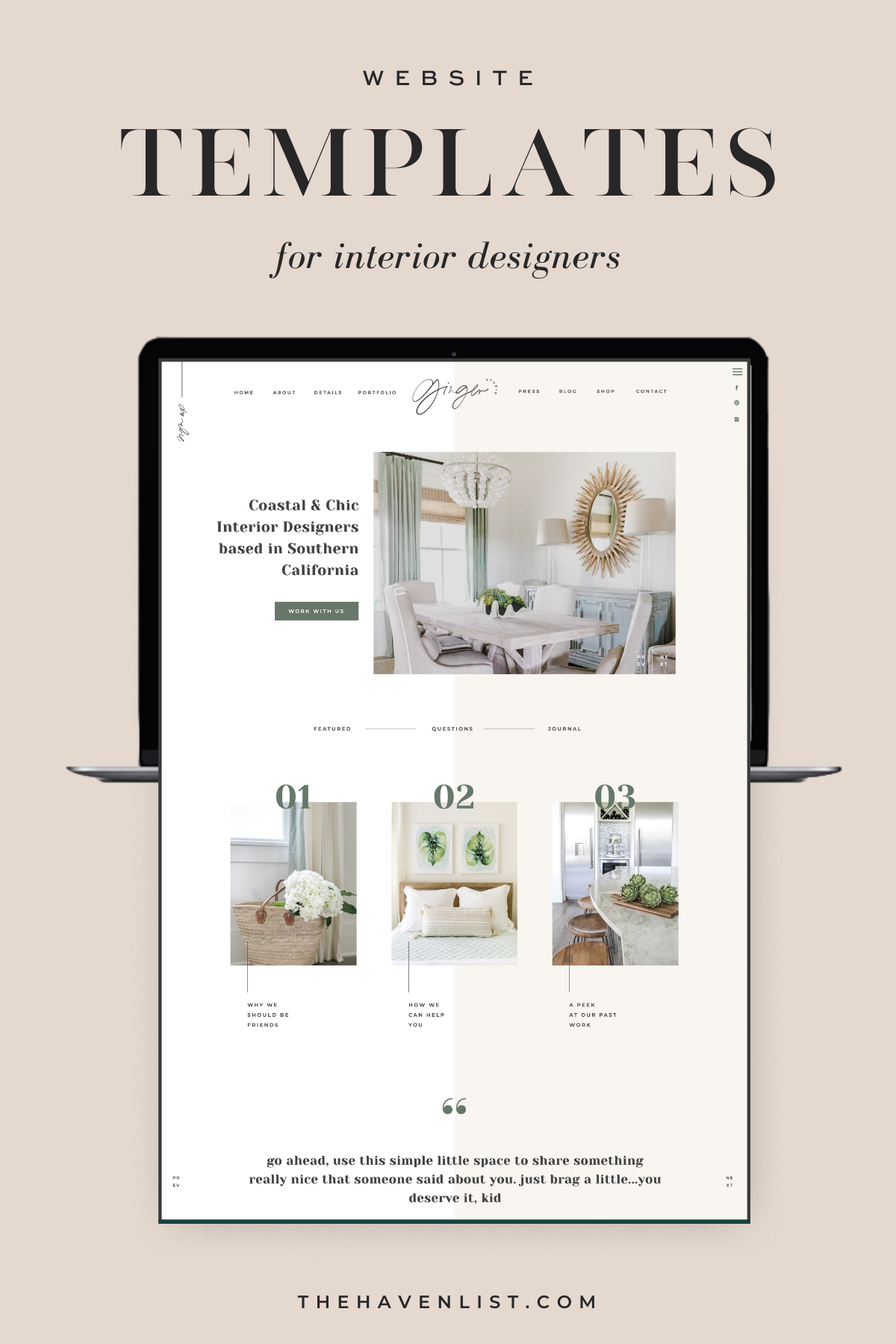 Easy-To-Edit Showit Website Templates and Customizable Website Templates for Interior Designers and Creatives - Stylish Social Media Templates, Website Content Planner & Guide, Showit Website Template, Saffron Avenue, The Haven List, Ginger