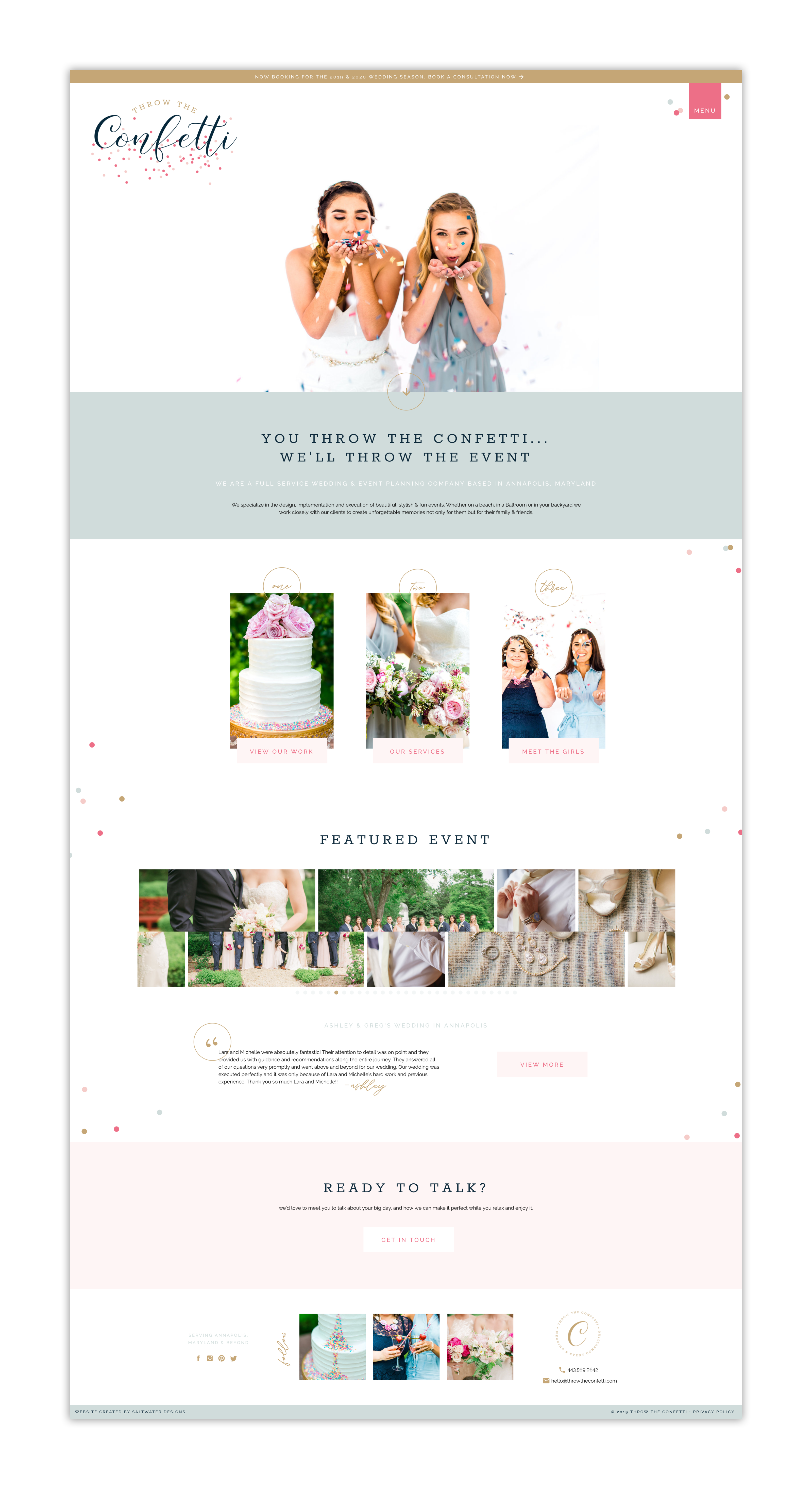 Web Design for Throw The Confetti Events • Event Planner • ShowIt Website Design • Fun & Colorful Website Design