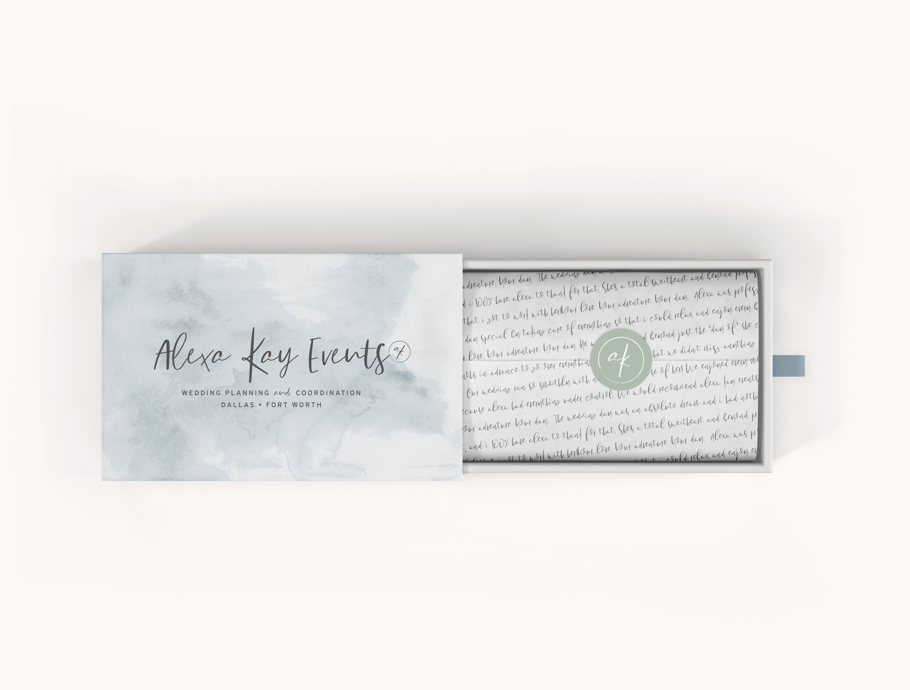 Branding & Web Design for Alexa Kay Events • Event Planner • ShowIt Website Design •Blue & Green Brandin