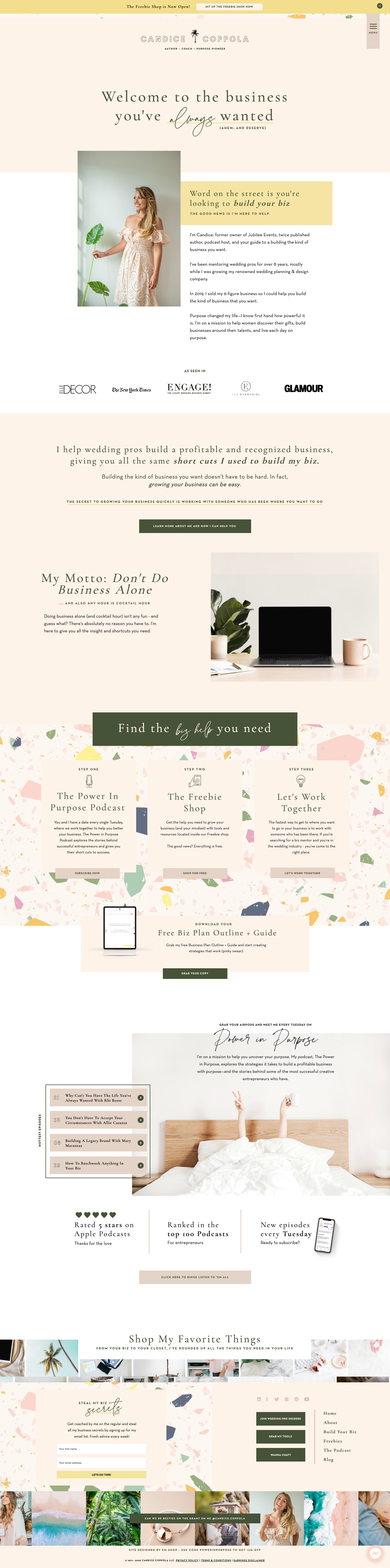 Showit Website template by Elizabeth McCravy for wedding industry business coach, Candice Coppola. Customized showit template for coaches & online business owners.
