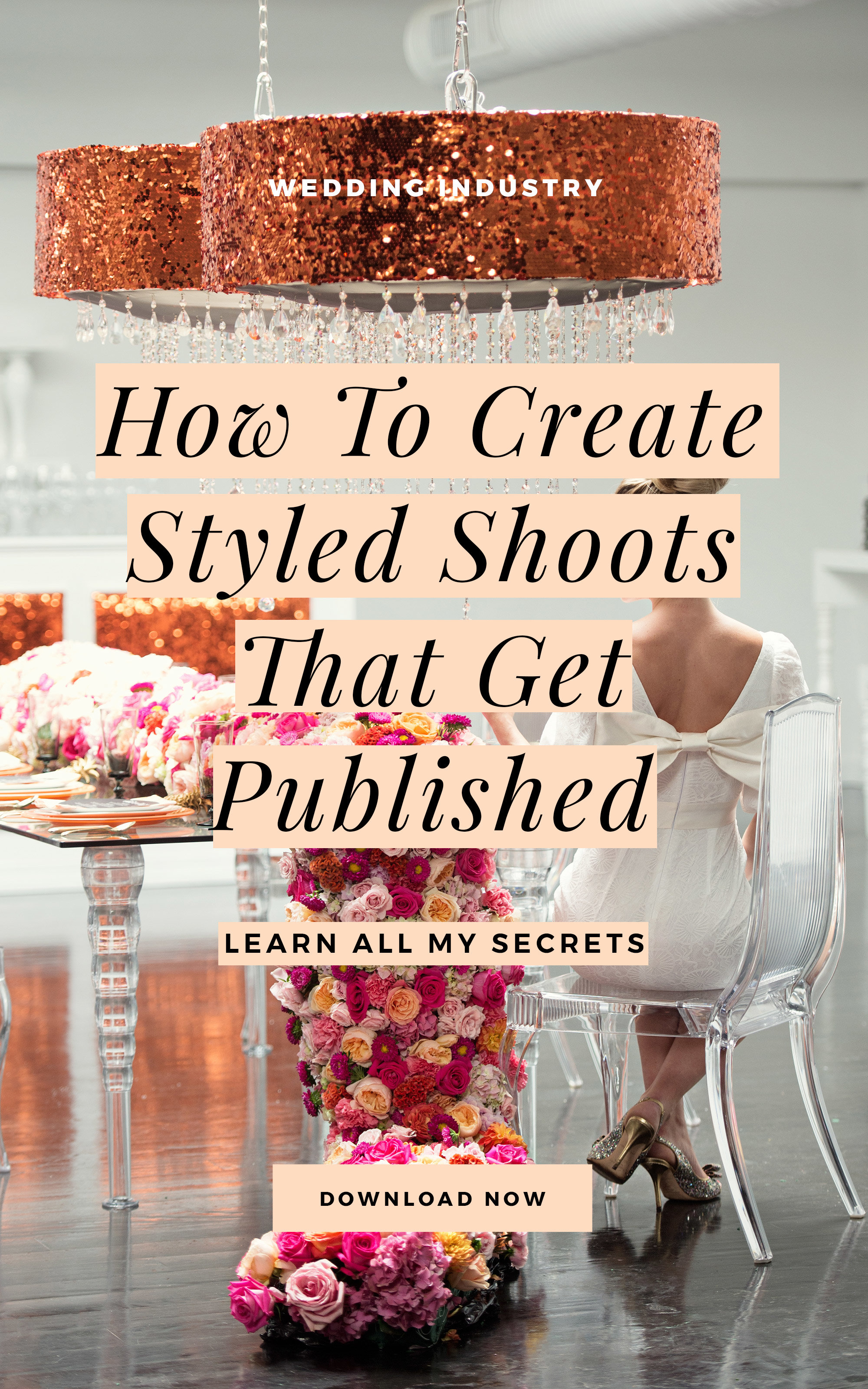 I've designed over 40 styled shoots during my career! Many of these projects have landed on the cover of magazines and they also scored me a 2 book deal with Schiffer Publishing. This FREE guidebook shares ALL my secrets on how to create a styled shoot that gets published. If you're looking for styled shoot tips, tricks, and hacks, then this guidebook is exactly what you need! Even if you've never styled a photoshoot before, I will walk you through what you need to know, how to prepare, and how to make the most of the process. Download The Ultimate Guide: How To Create Styled Shoots That Get PUBLISHED! #weddingpros #weddingplanner #weddingphotographer #candicecoppola
