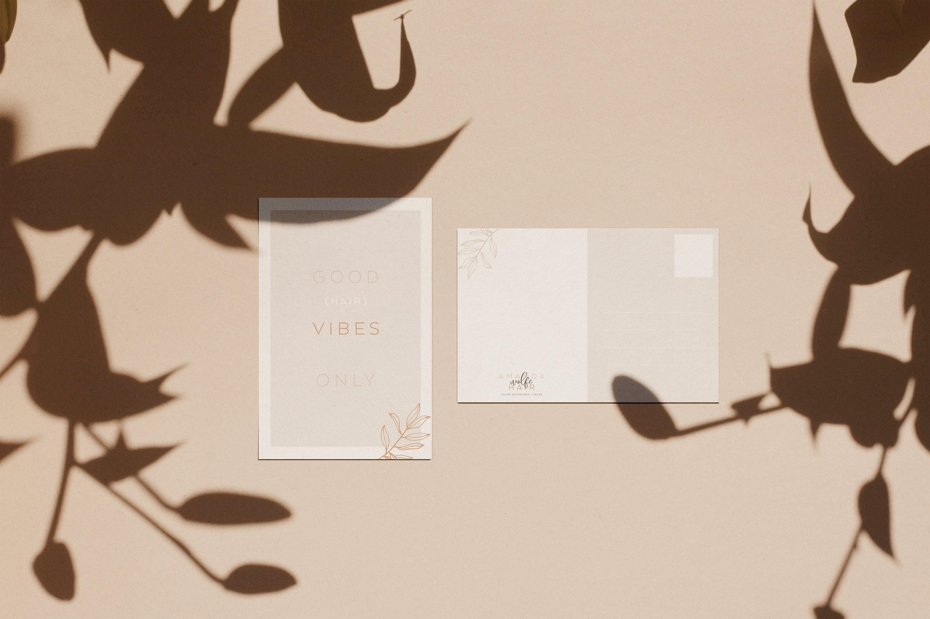 Post Card Design for Amanda Wolfe Hair • Hair Stylist • ShowIt Website Design • Hair Stylist Branding • Post Card Design