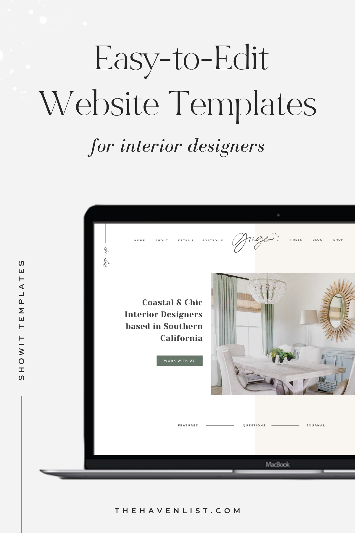 Easy-To-Edit Showit Website Templates and Customizable Website Templates for Interior Designers and Creatives - Stylish Social Media Templates, Website Content Planner & Guide, Showit Website Template, Saffron Avenue, The Haven List