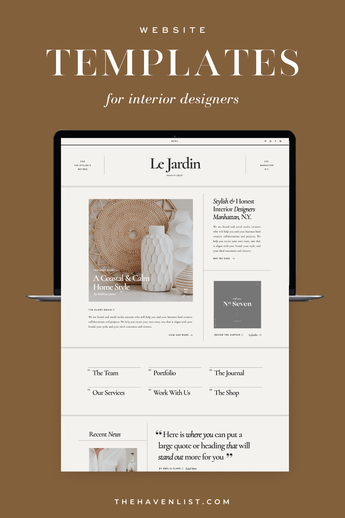 Easy-To-Edit Showit Website Templates and Customizable Website Templates for Interior Designers and Creatives - Stylish Social Media Templates, Website Content Planner & Guide, Showit Website Template, Saffron Avenue, The Haven List, Jardin